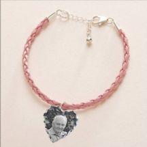 Plaited Leather Bracelet with Photo Charm